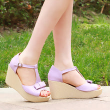 Load image into Gallery viewer, Fashion T Straps Wedges Bow Sandals Pumps Platform High Heels Women Dress Shoes 8884