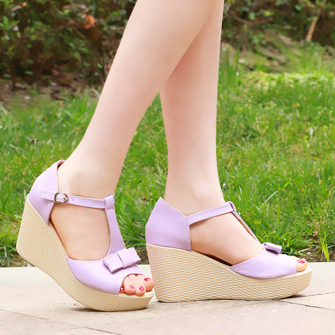 Fashion T Straps Wedges Bow Sandals Pumps Platform High Heels Women Dress Shoes 8884