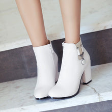 Load image into Gallery viewer, Pearl High Heels Ankle Boots Chunky Heel 6488
