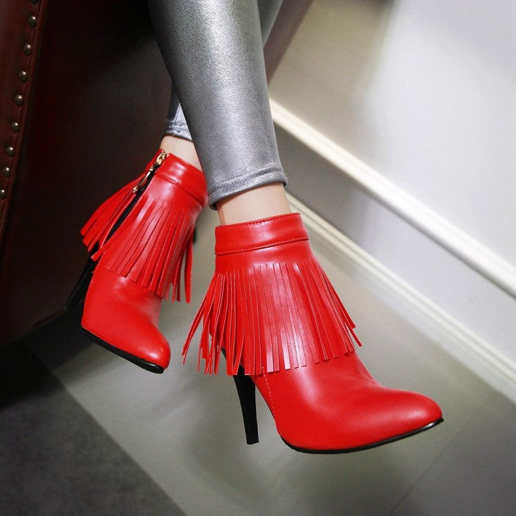 Pointed Toe Tassel Ankle Boots Stiletto Heel Wedding Shoes 3055