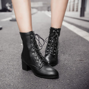 Women/'s Round Toe Ankle Boots Lace-up Chunky Heels Brogue Motorcycle Low Heels