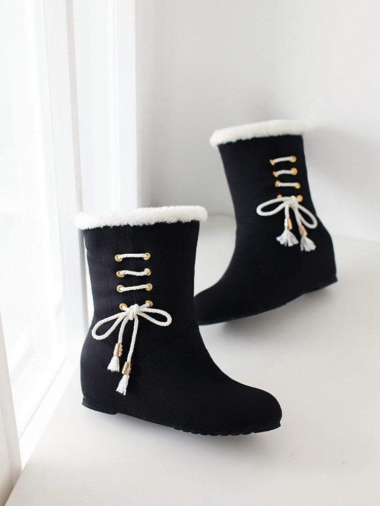 Women Fur Snow Boots Wedges Winter Mid Calf Boots Shoes Woman 2016 3510