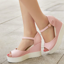 Load image into Gallery viewer, Embossed Leather Platform Sandals Women Peep Toes Wedges Shoes Woman
