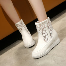 Load image into Gallery viewer, Lace Platform Ankle Boots Height Increasing Wedges Women Shoes 76158936