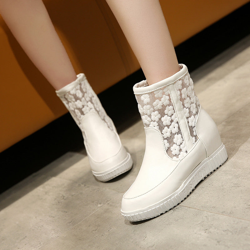 Lace Platform Ankle Boots Height Increasing Wedges Women Shoes 76158936