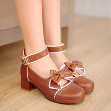 Load image into Gallery viewer, Bowtie Women Pumps Platform Round Toe Ankle Straps Shoes Woman