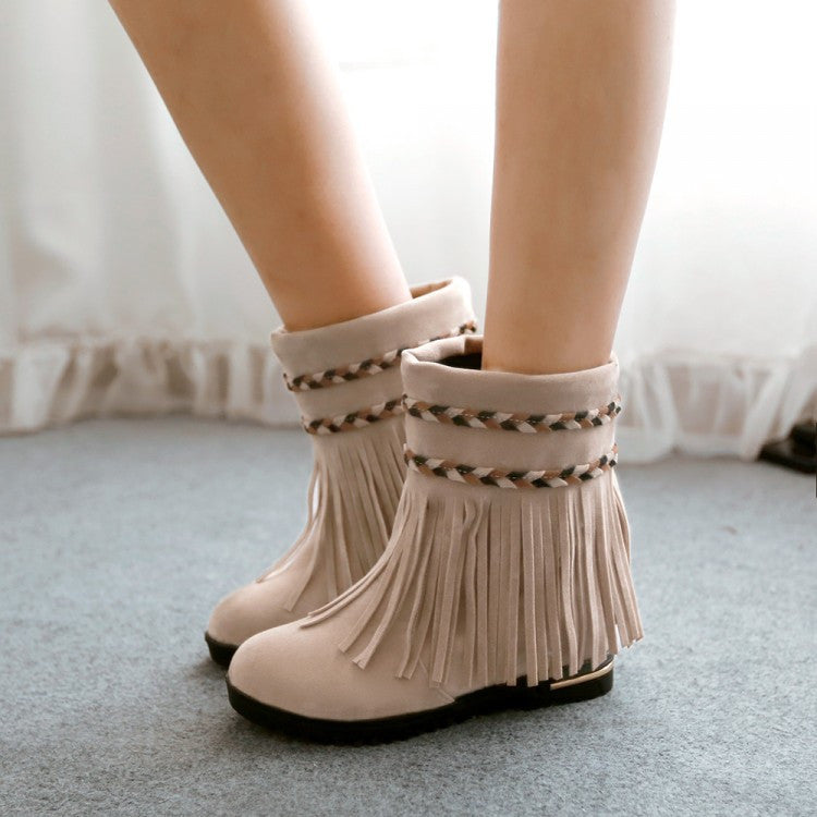 Tassel Women Ankle Boots Round Toe Shoes Woman 2016 3477