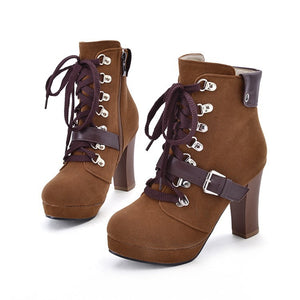 Round Toe Lace Up Buckle Platform Ankle Boots High Heels 7755