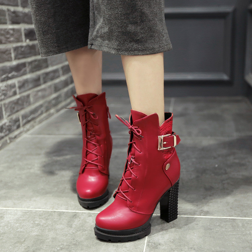Lace Up Buckle Ankle Boots High Heels Shoes Fall|Winter 5044