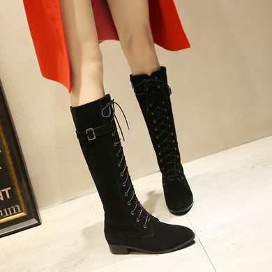 Cross Straps Buckle Belt Knee High Boots Square Heel 3875