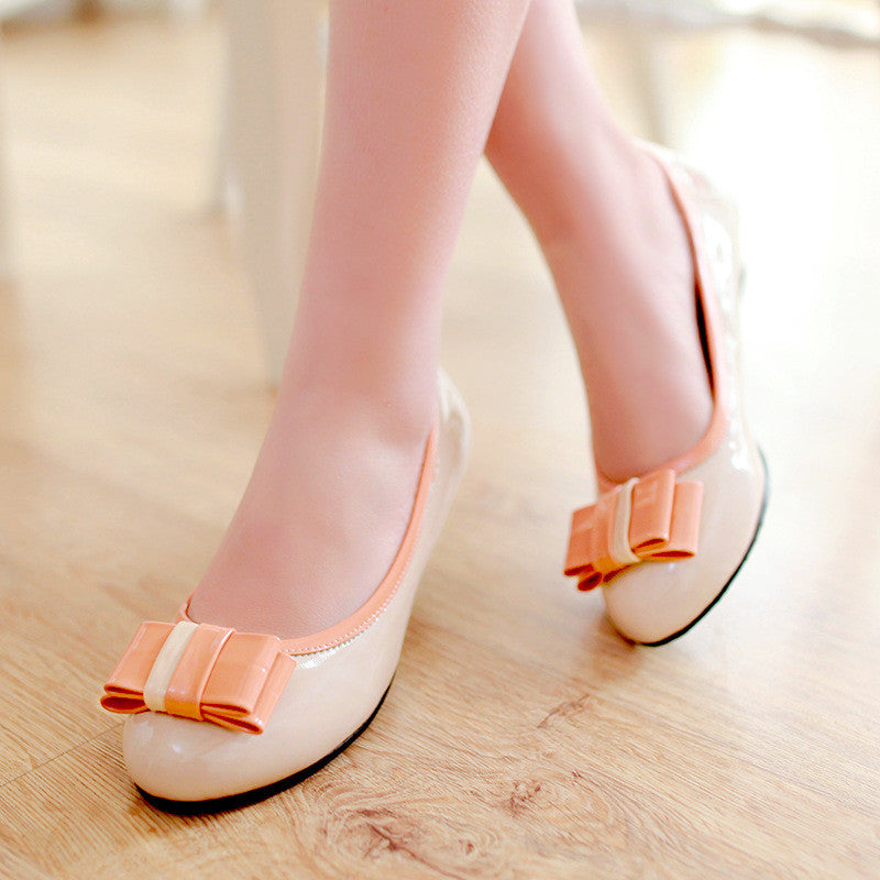 Round Toe Bowtie Women Flats Ballet Shoes