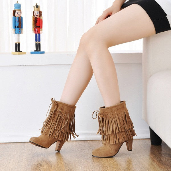 Round Toe Tassel High Heels Ankle Boots Women Shoes 6818