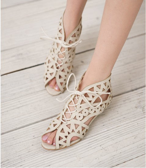 Peep Toe Gladiator Sandals Wedges Heel 6257