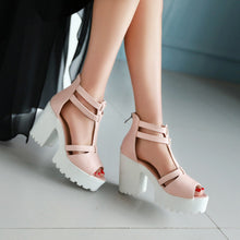 Load image into Gallery viewer, T Straps Peep Toe Platform Sandals High Heels Chunky Heel Pumps 1954