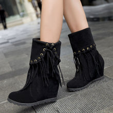 Load image into Gallery viewer, Tassel Women Wedges Boots High Heels Shoes Woman 2016 3373