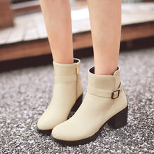 Load image into Gallery viewer, Women Ankle Boots High Heels Zipper Round Toe Thick Heeled Buckle Shoes Woman 7580