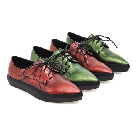 Casual Pointed Toe Women Flats Lace Up Shoes