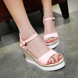 Wedges Sandals Ankle Straps Platform Women Shoes