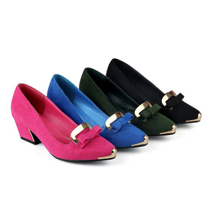 Bow & Metal Pumps High Heels Women Shoes 6652