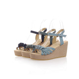 Summer Ankle Strap Sandals Denim Wedges Platform High-heeled Shoes Woman