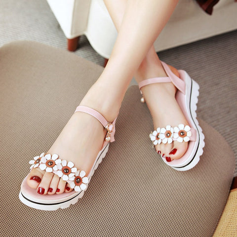 Ankle Straps Flower Platform Sandals 1961