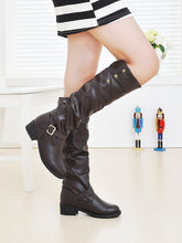 Load image into Gallery viewer, Round Toe Buckle Knee High Boots Artificial Lamb Wool Shoes Woman 3338