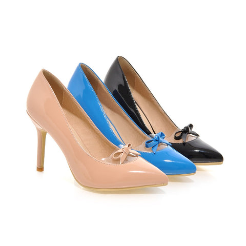 Womens High Heel Shoes Pointed Toe Lady Pumps Party Dress Shoes Bow