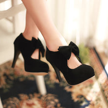 Load image into Gallery viewer, Bowtie Women Pumps Platform High Heels Black and Tan Back Zipper Spike Shoes Woman