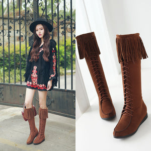 Tassel Wedges Knee High Boots Shoes Woman 3292 3292
