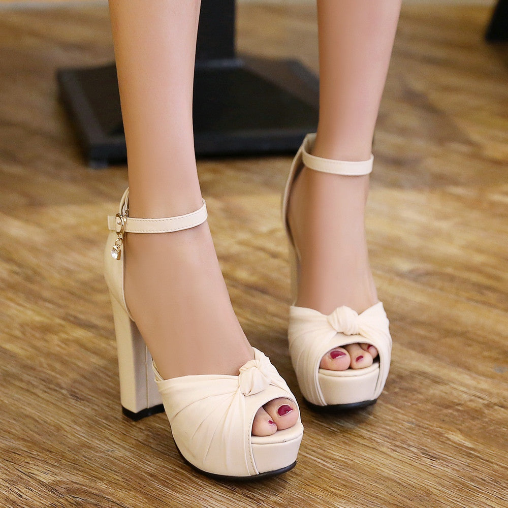 Ankle Straps Chunky Heel Pumps Platform High Heels Fashion Sandals Women Shoes 2599