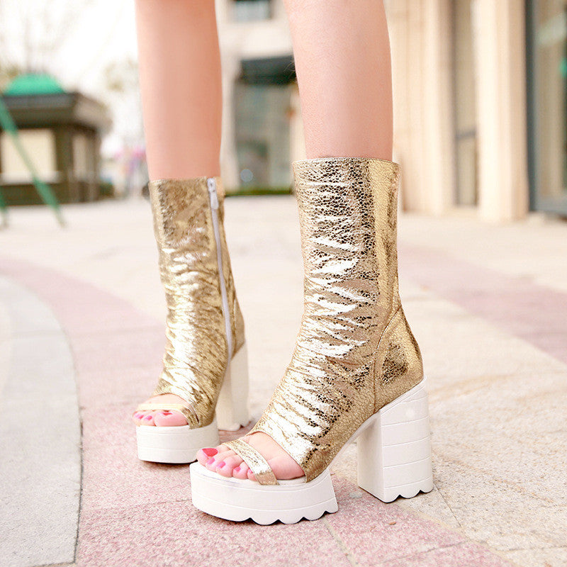 Zipper Gladiator Boots High Heels Platform Boots Summer Shoes Woman