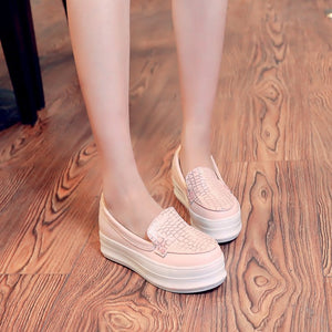 Round Toe Women Wedges Loafers Platform Shoes