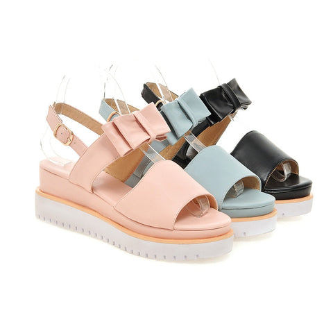 Bowknot Wedges Sandals Platform Women Shoes