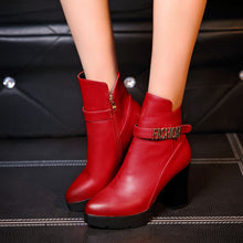 Load image into Gallery viewer, Pointed Toe Ankle Boots Chunky Heel Pumps High Heels Shoes Woman