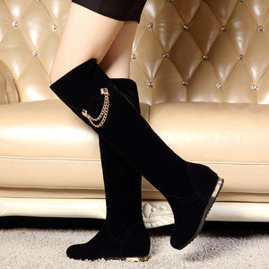 Black Chains Women Knee High Boots Wedges Shoes Woman 2016 3486