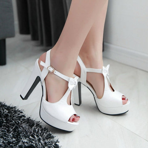 Ankle Wrap Bowtie Platform Sandals High Heels 6145