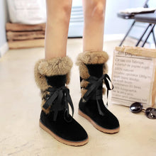 Load image into Gallery viewer, Lace Up Rabbit Fur Flat Snow Boots Women Shoes 8274