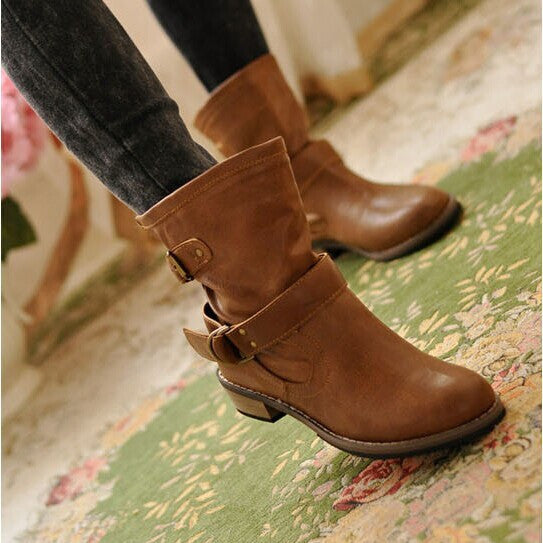 Pu Leather Women Boots Round Toe Buckle