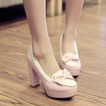 Load image into Gallery viewer, Bow Chunky Heel Pumps Platform High Heels Women Shoes 1755