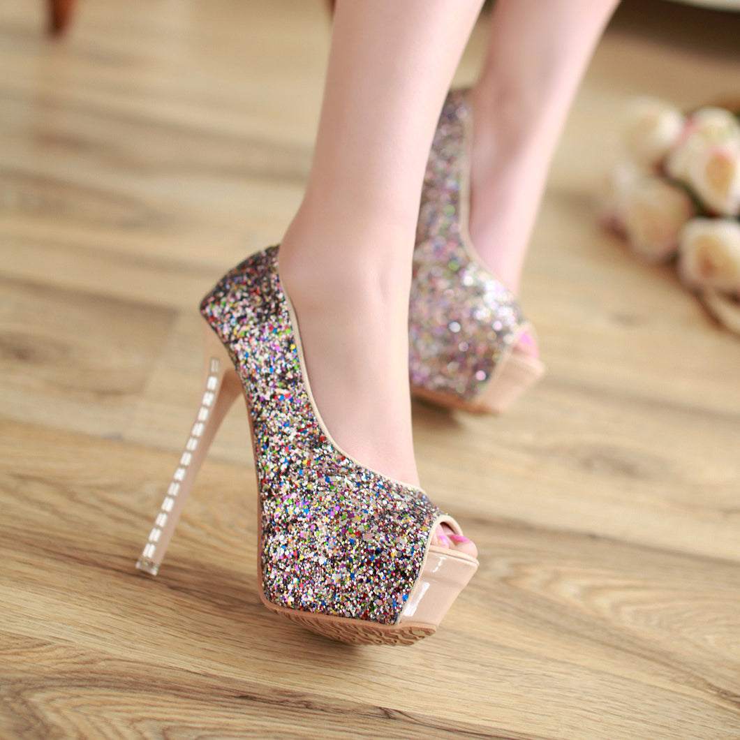Sequined Platform Pumps Peep Toes Ultra High Heels Spike Shoes Woman