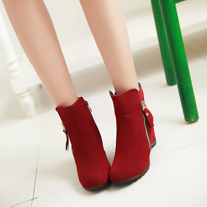 Zipper Ankle Boots Wedges Women Shoes Fall|Winter 4320