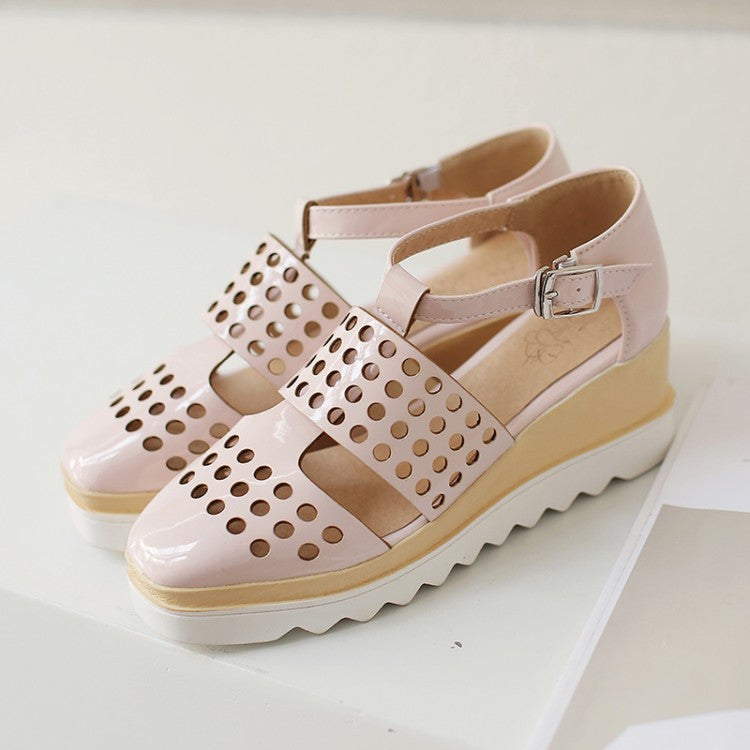 3c6be9134 Ankle Wrap Cutout Women Wedges Sandals 6424 – Shoeu