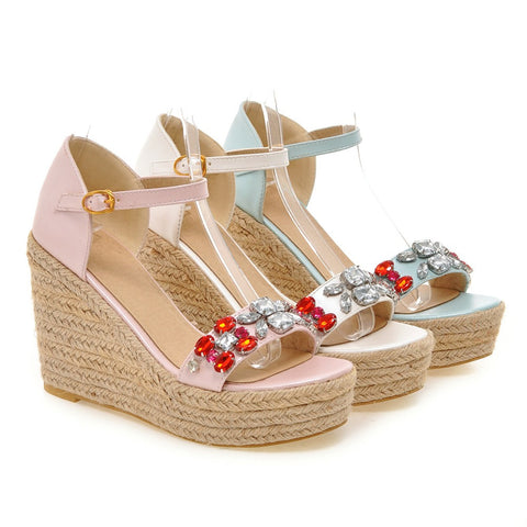 Women Woven Wedges with Rhinestone Ankle Straps Platform Shoes