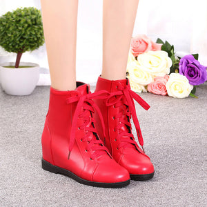 Women Wedges Ankle Boots Lace Up Platform Shoes Woman 2016 3589
