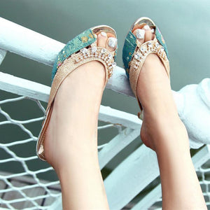 Slides Sandals Rhinestone Women Pumps High Heels Shoes Woman 3443
