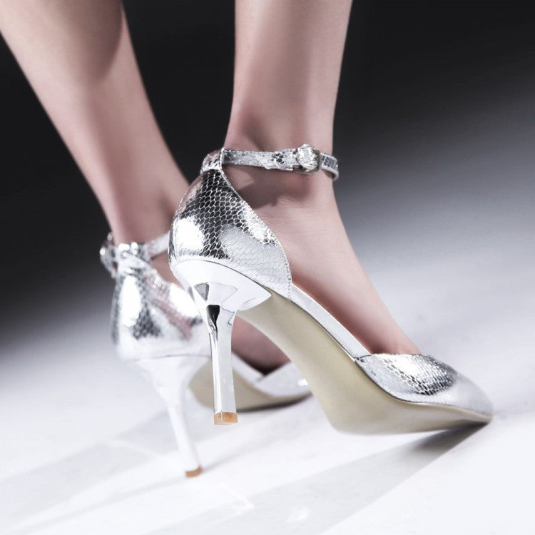 Ankle Straps Sandals Women Pumps High Heels Spike Dress Shoes Woman