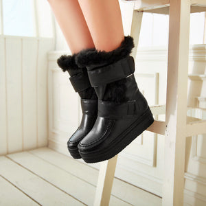 Hool Loop Fur Women Boots Wedges Platform Winter Shoes Woman 2016 3467
