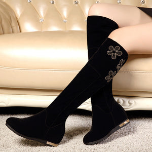 Rhinestone Flower Women Knee High Boots Black Wedges Shoes Woman 2016 3469