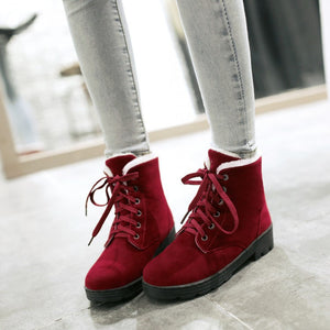 Lace Up Women Snow Boots Round Toe Winter Shoes Woman 2016 3471