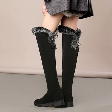 Women Rabbit Fur Over the Knee Boots Faux Suede Snow Boots 1717